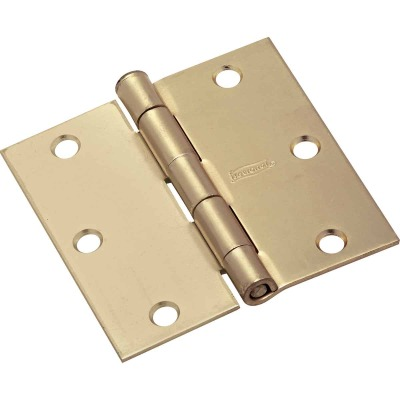 National 3 In. Square Satin Brass Door Hinge