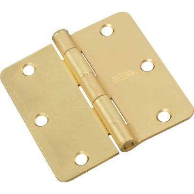 National 3-1/2 In. x 1/4 In. Radius Satin Brass Door Hinge