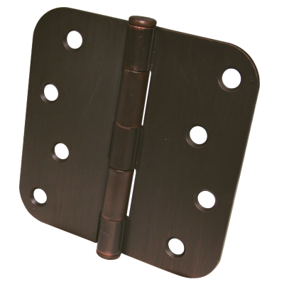 Ultra Hardware 4 In. x 5/8 In. Radius OIl Rubbed Bronze Door Hinge (3-Pack)