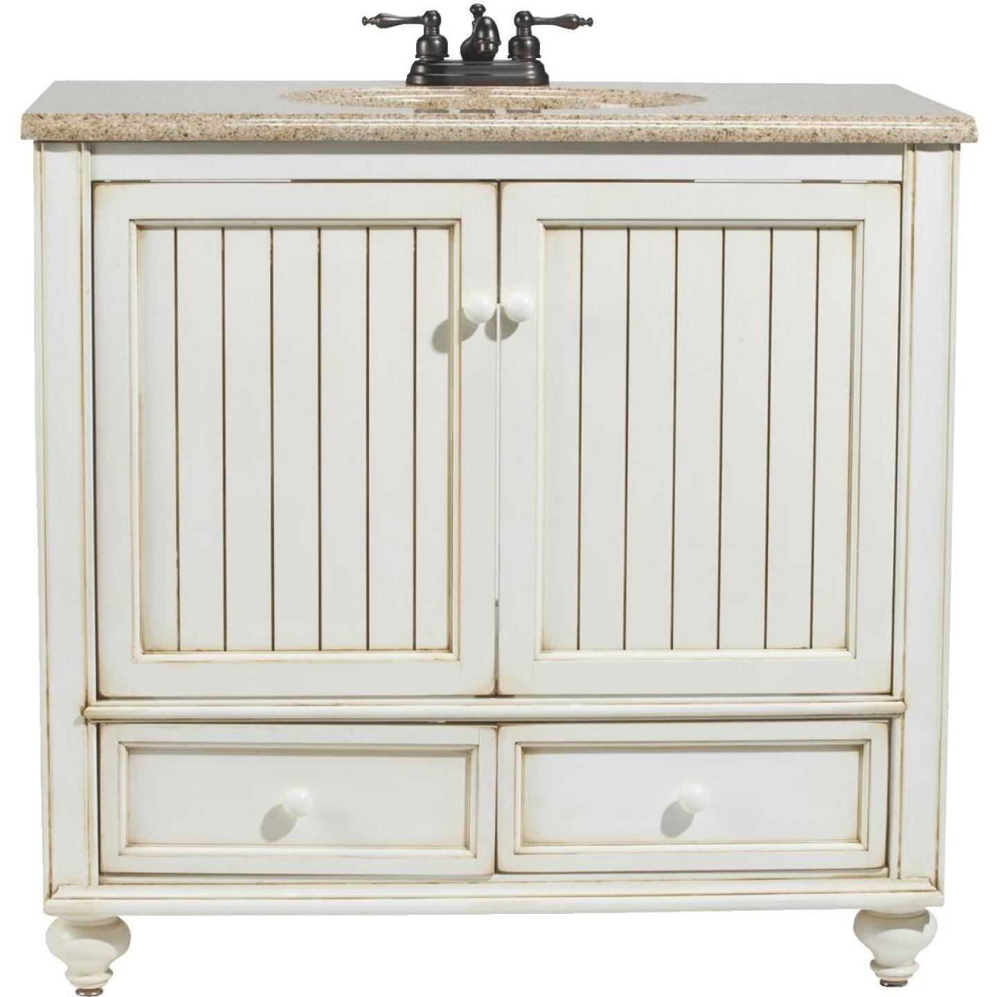 Sunny Wood Bristol Beach White 36 In. W x 34 In. H x 21 In. D Vanity Base, 2 Door/2 Drawer Image 1