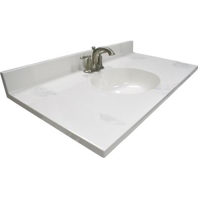 Modular Vanity Tops 37 In. W x 22 In. D Marbled Dove Gray Cultured Marble Vanity Top with Oval Bowl