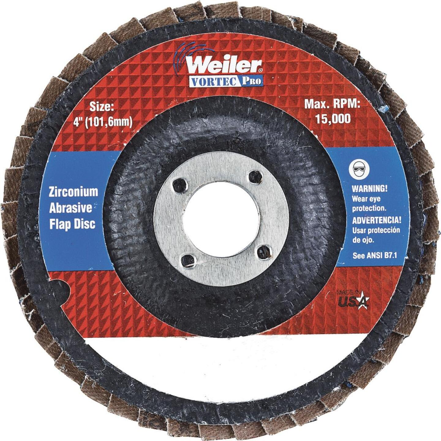 Weiler Vortec 4 In. x 5/8 In. 36-Grit Type 29 Angle Grinder Flap Disc Image 1