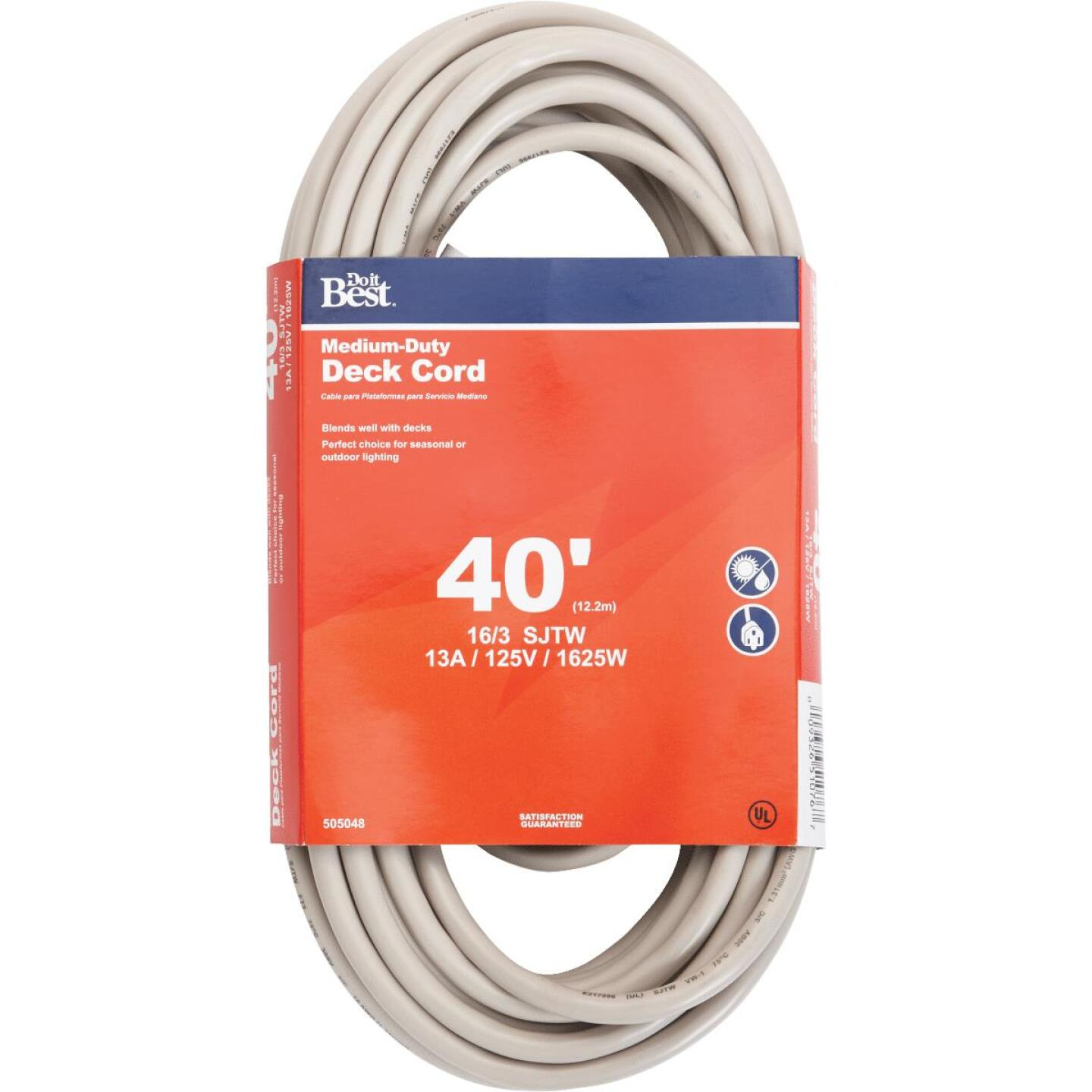 Do it Best 40 Ft. 16/3 Medium-Duty Tan Deck Extension Cord Image 1