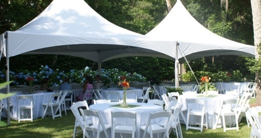 White tents at outdoor wedding
